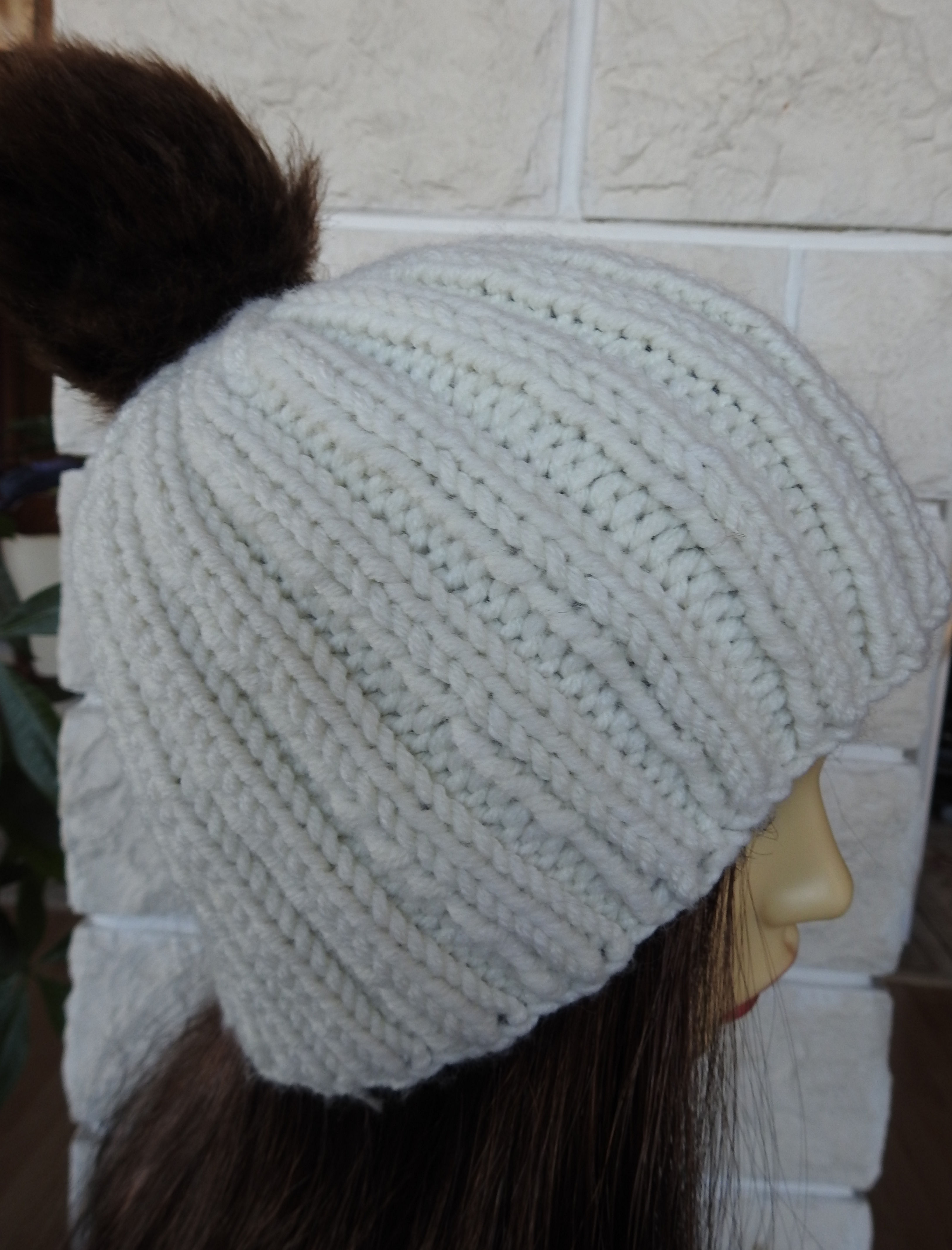 2e64000fc0d1a ... Knitted Women s Cream Winter Hat With A Brown Pompom - FREE SHIPPING -  Thumbnail ...