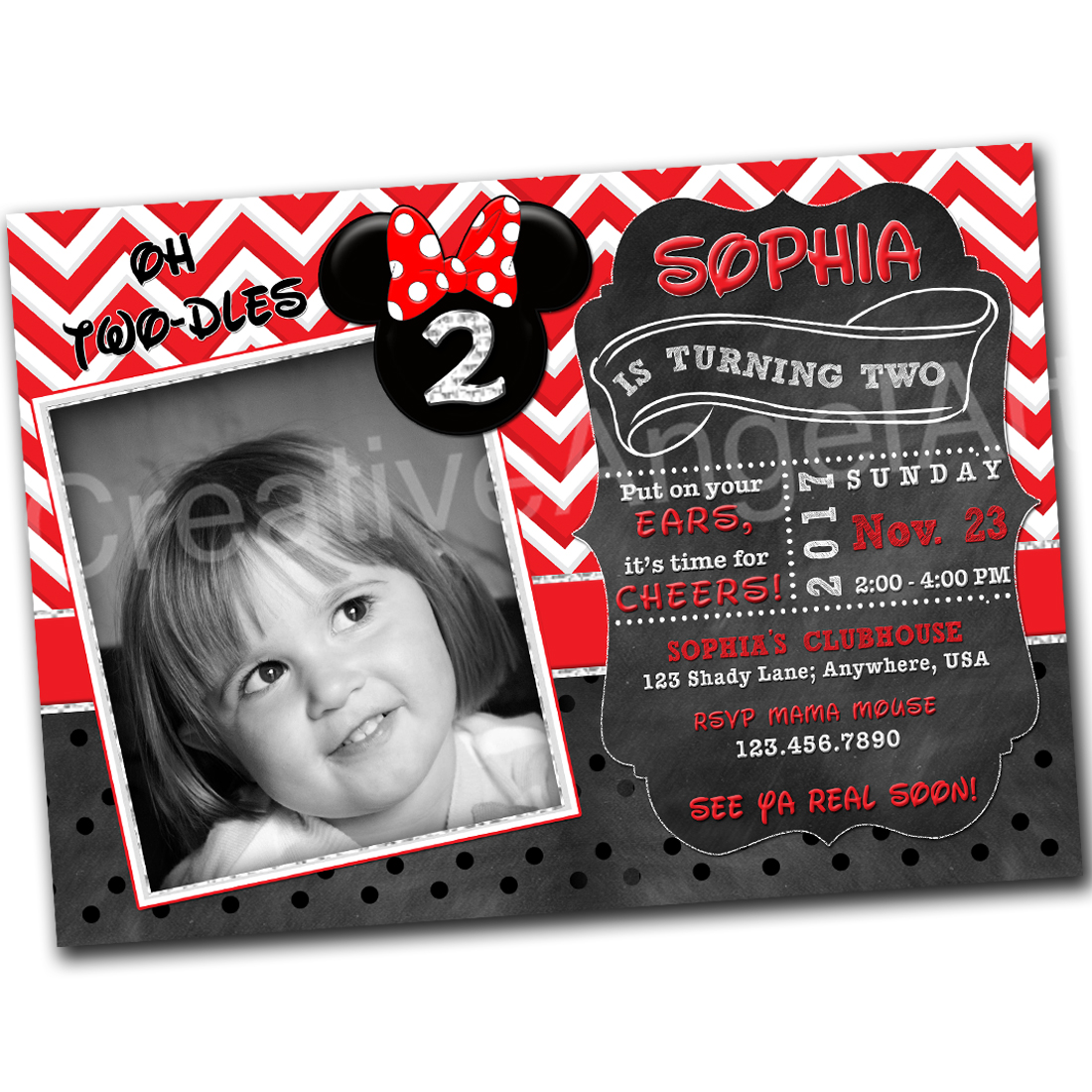 Printable Minnie Mouse Birthday Invitation With Photo Oh TWO DLES 2nd Red Chevron Chalkboard
