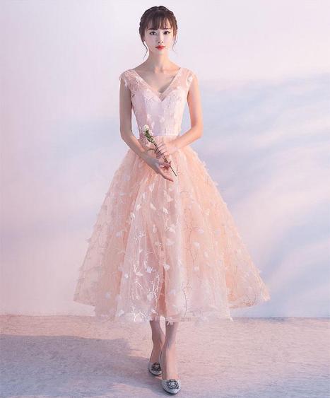 fc9fa47370b1 Pink lace tulle short prom dress, pink evening dress · Dress idea ...