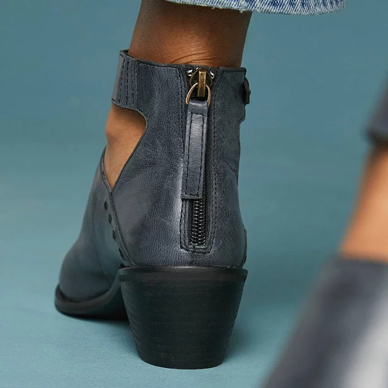 e4e2206ddd2 Grey Chunky Heel Zip ankle boots Shoes