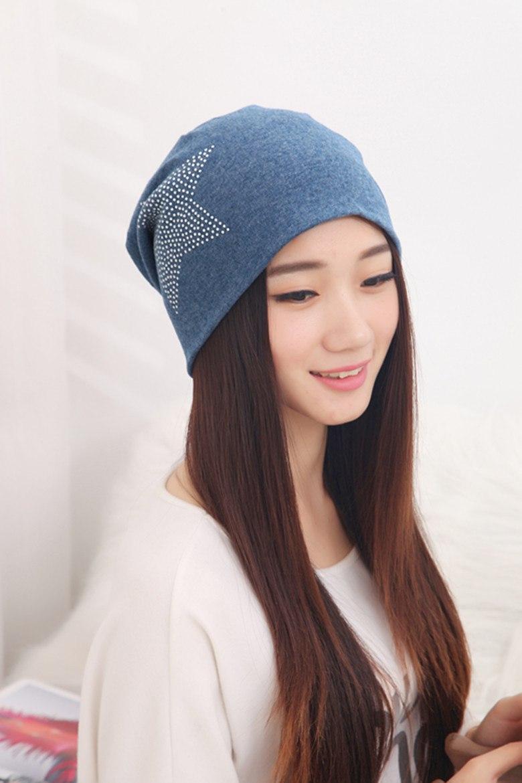 b01658acd5f Autumn and winter beanies diamond turban Pentacle cap skullies hip-hop  stocking hat for women