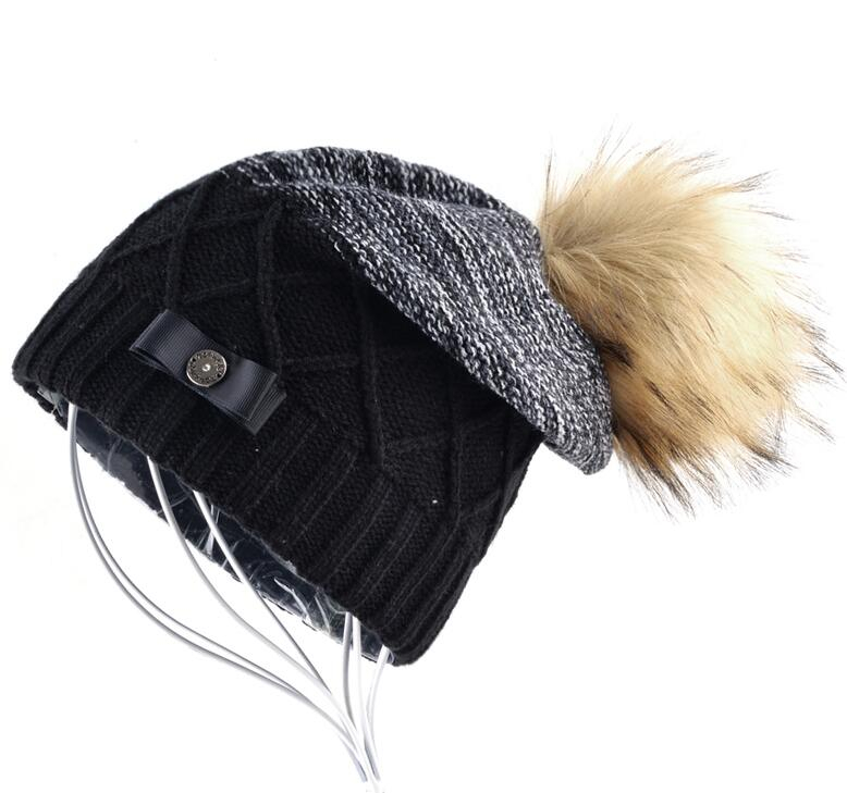Imitation Fur Ball Beanie Hat Women Winter Double Layer Knitted Skullies  Beanies Female Metal Button Bow ... 665b57ea72a