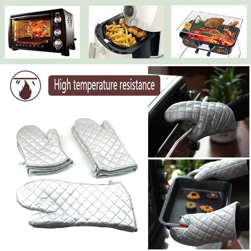 1 Pair Food Grade Heat Resistant Thick Insulation Cotton Barbecue Oven Glove Cooking Bbq Kitchen Supplies Grill Glove Baking Protective Gloves Sold By