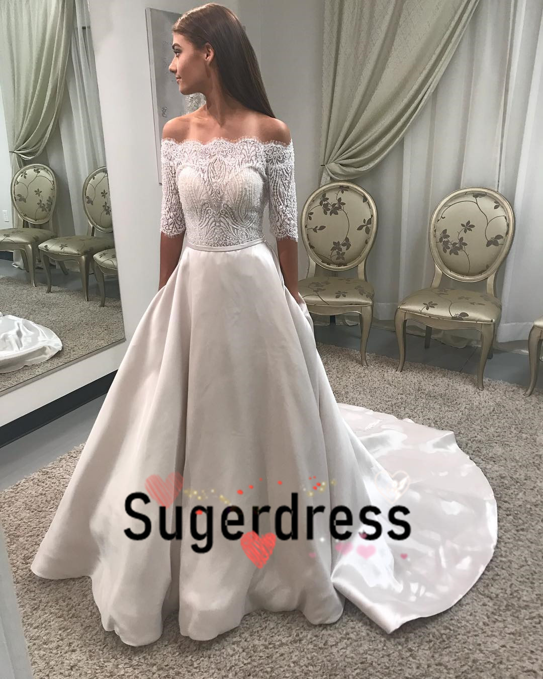 0fea3d0a496f Off the Shoulder White Long Wedding Dress on Storenvy