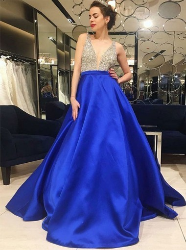504051999c3 A-Line Sexy V-Neck Low Cut Royal Blue Satin Prom Dress with Beading ...