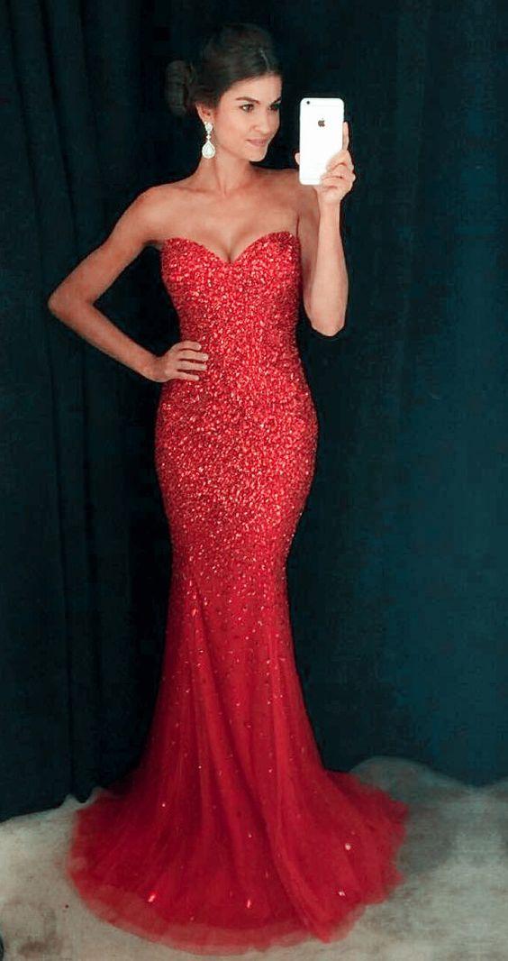 da607e40e77 Mermaid Red Prom Dresses