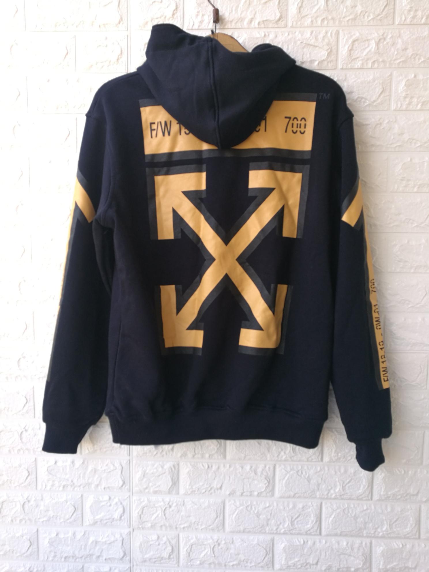 edf9de415dc4 OFF WHITE Men s Dark Blue Arrows Print Sweatshirt Hoodie · rv shop ...