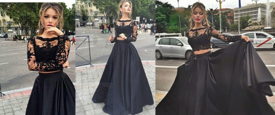 Sexy Black Prom Dress Lace Long Sleeve