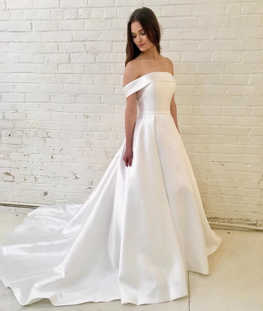Gorgeous White Satin Wedding Dress Off Shoulder Sweep Train High Quality Free Shipping Bridal Gown From Yooyoodress