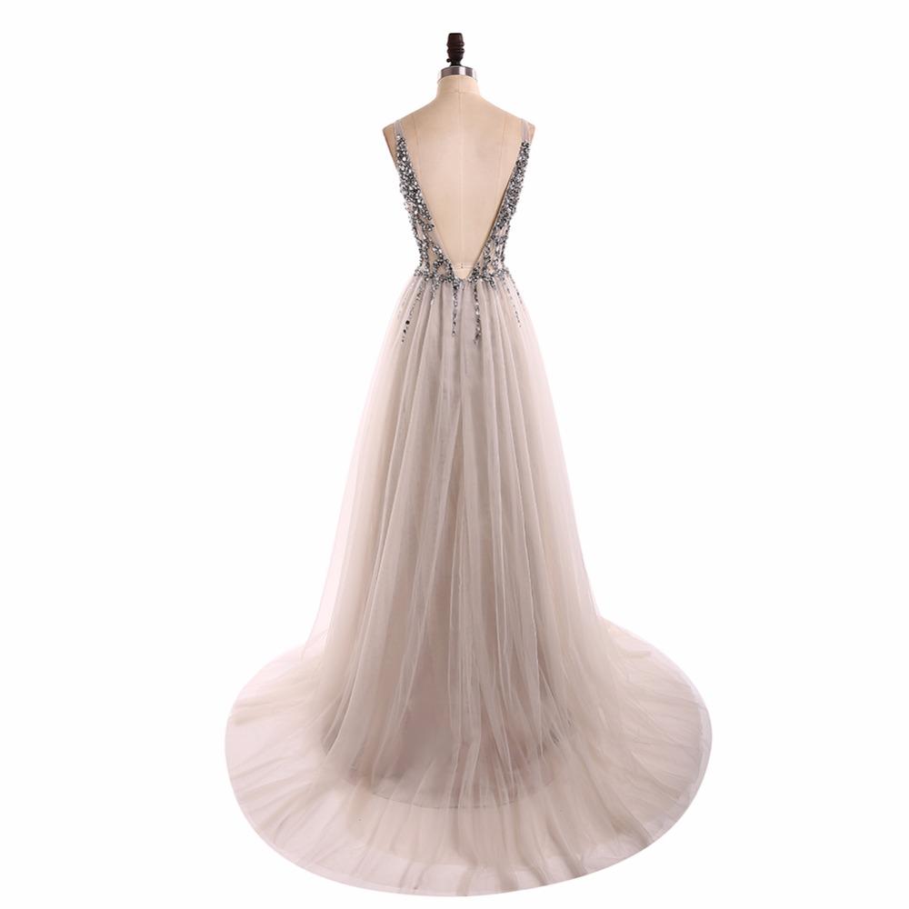 154038385a6 ... Grey V Neck See Through Beaded Long Evening Prom Dresses