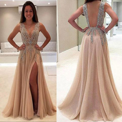 78ecb14662 2018 sexy see through delicate beading side slit tulle long evening prom  dresses, 172344