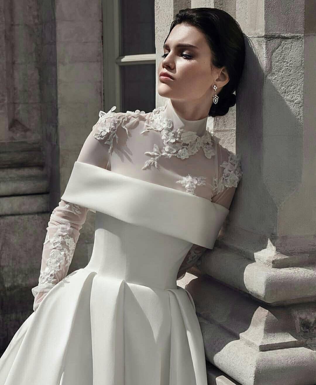 f272d8695 Gorgeous White Satin Prom Dress Long Sleeves Off Shoulder Lace Appliques Floor  Length Evening Dresses Long