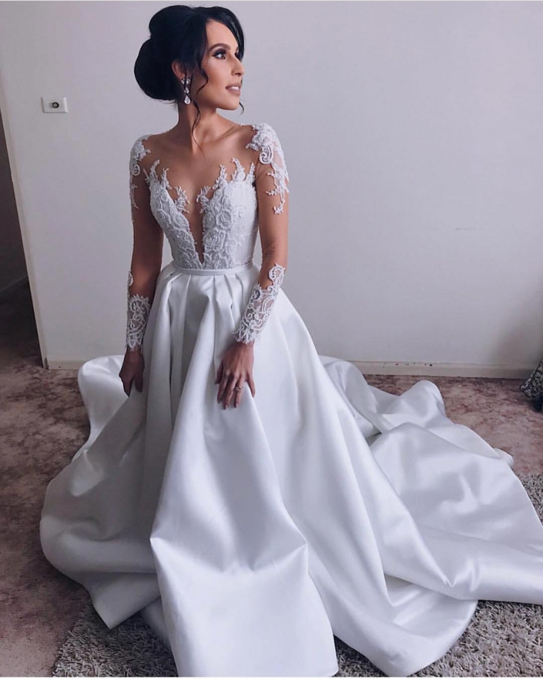 Gorgeous White Long Sleeves Wedding Dress Satin Sweep Train Scoop Neck Lace Appliques Illusion Modest Bridal Gown Yooyoodress Online Store Powered By Storenvy