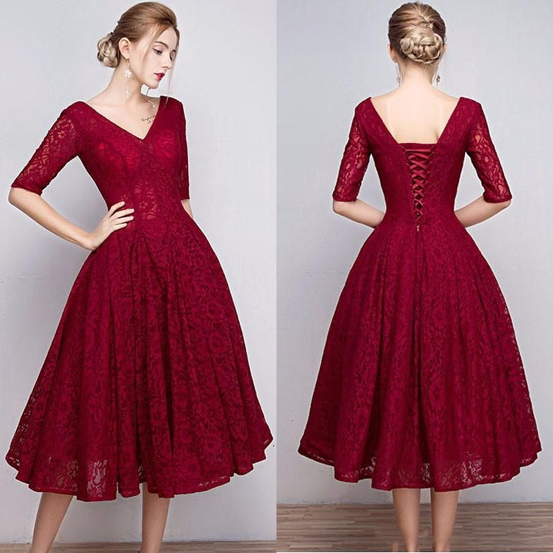 92a42f6af97 Modern Lace V-Neck Red Prom Dresses Short A-Line Lace Up Tea-Length Half  Sleeves Homecoming Gown Graduation Gowns on Storenvy