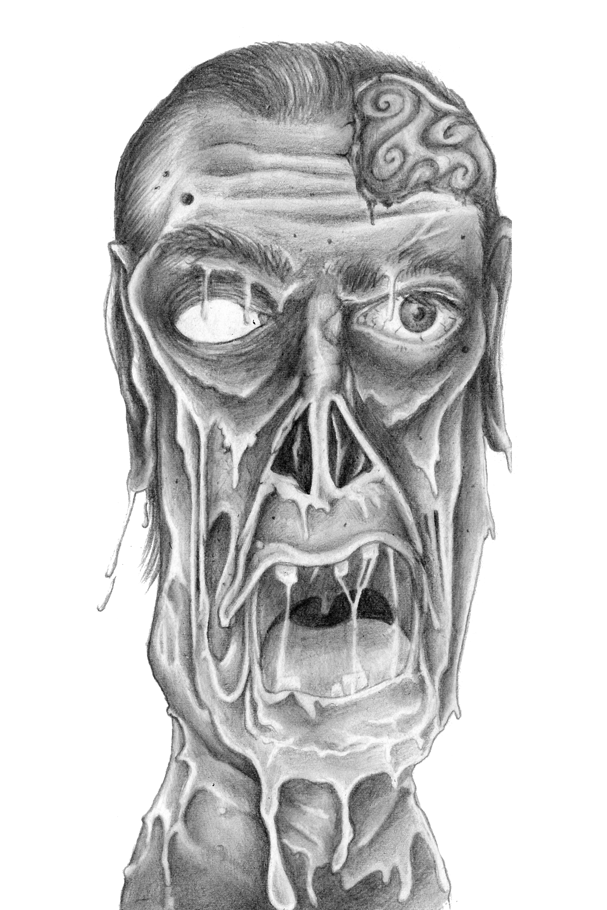 Ehizelloween zombie pencil drawing print