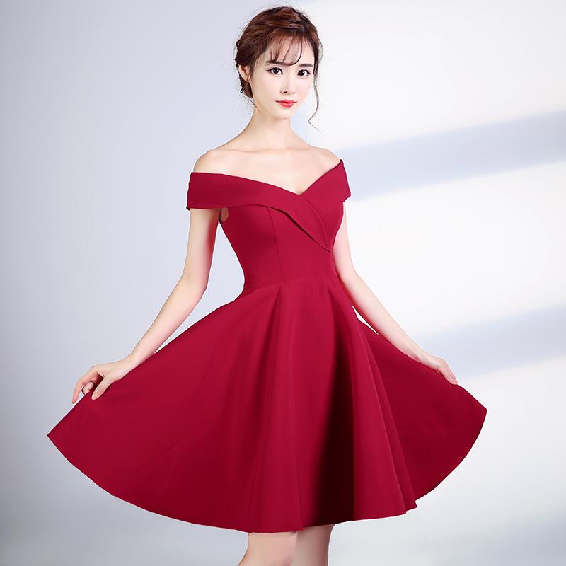 11ec4cea9e Simple v neck off shoulder short prom dress
