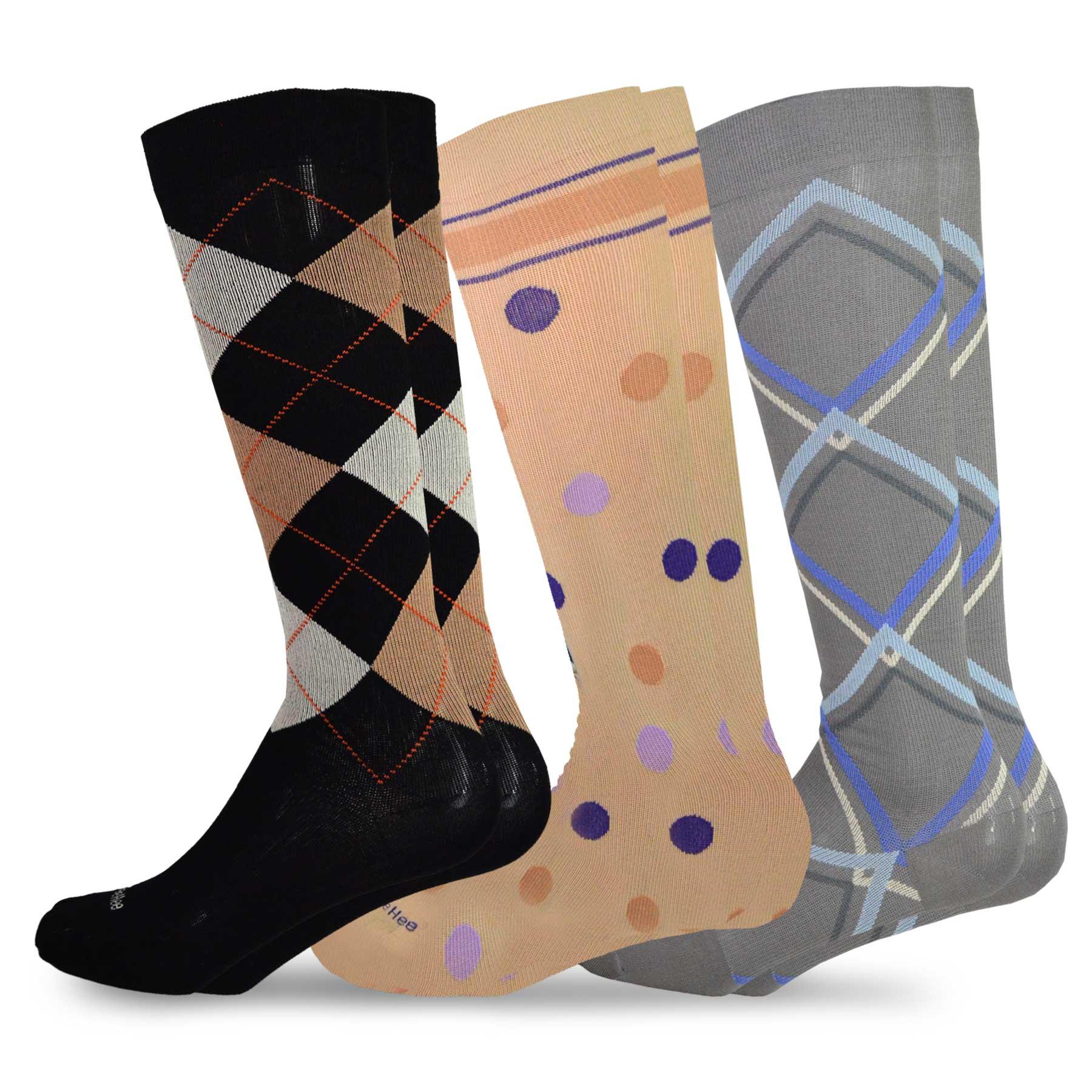 2dc0ef2921 TeeHee Microfiber Compression Knee High Socks with Rib 3-Pack ...