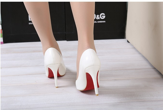 White Thin Heel Pointed Women's Pumps High Heels Red Bottom ...
