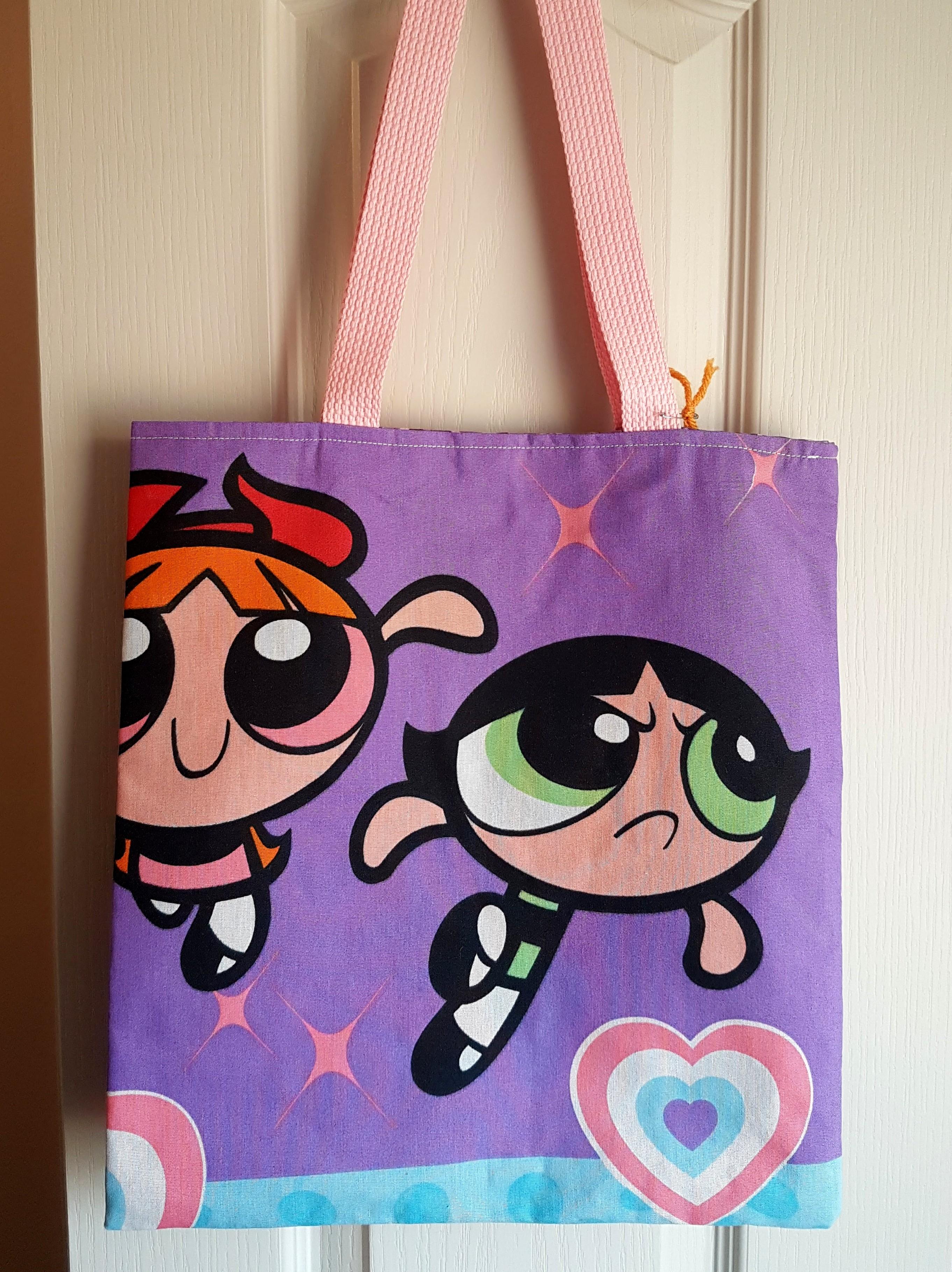 f5af08af8e7 Retro Purple Powerpuff Girls Purse Tote Bag - Blossom, Buttercup & Bubbles