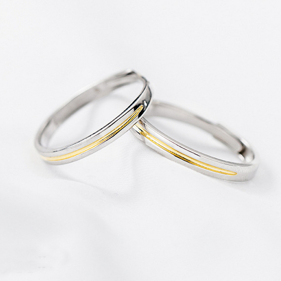 fb41e9a3f6 ... Japanese style plain gilt simple 925 sterling silver opening couple  rings - Thumbnail 3