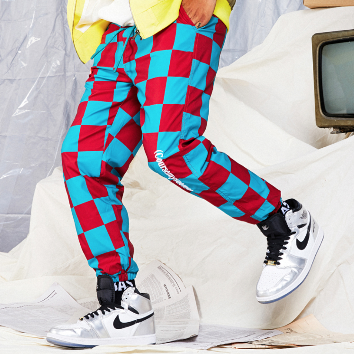 authentic quality quality for whole family RED AND GREEN CHECKERBOARD JOGGERS from STORE CAT CAT