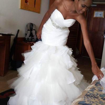 19458ff599f4 Luxury ruffle beaded sash arabic mermaid wedding dress tiers middle east  plus size country afraic vestidos