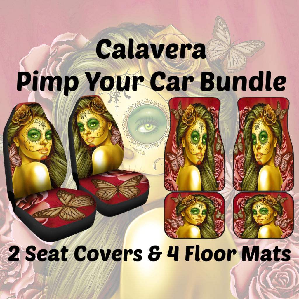 Peachy Calavera Day Of The Dead Dia De Los Muertos Halloween Skull Design 2 Pimp Your Car Bundle Car Seat Covers And Mats Yellow Sold By Dealiohound Evergreenethics Interior Chair Design Evergreenethicsorg