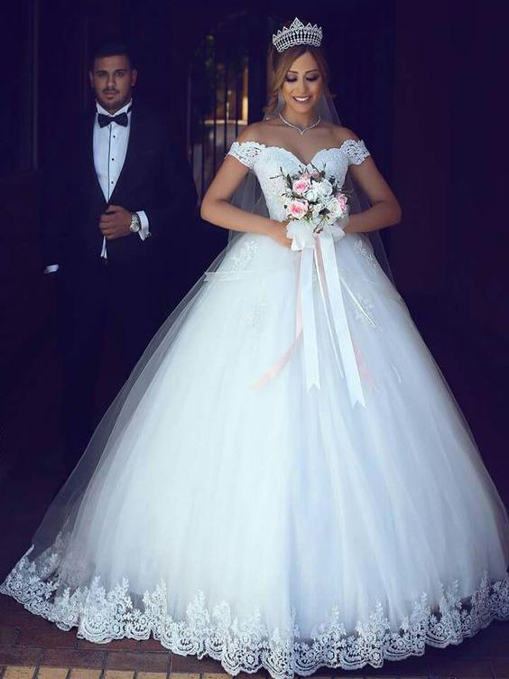 3ea668208d8 Sexy Wedding Dresses Ball Gown Off-the-shoulder Floor-length Bridal Gown