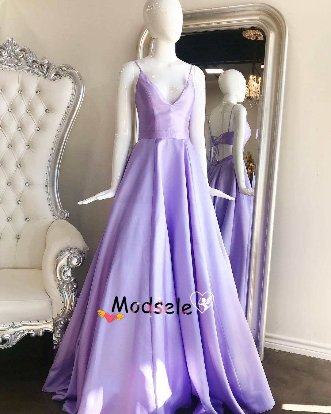 ed1f32bfb6f Elegant Lavender Long Prom Dress with Lace Up · modsele · Online ...