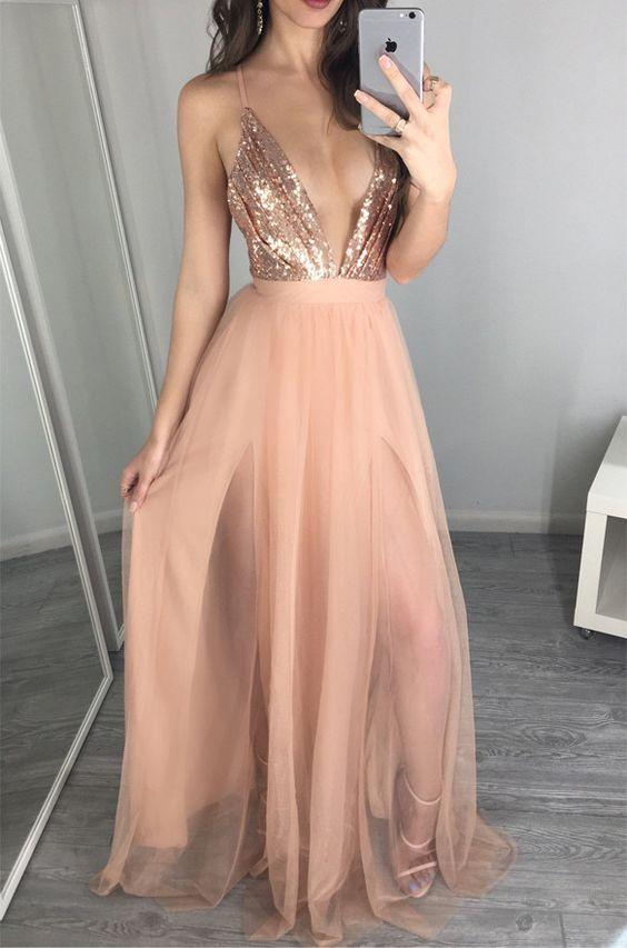 9ea49c94cb875 Sexy Rose Sequin Blush Pink V Neck Backless Prom Dresses Evening Dress,D0029