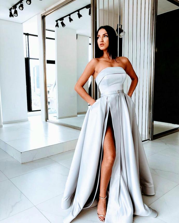 Sexy Slit A Line Prom Dresses Satin Evening Dress Silver Long Prom Dress  Formal Gowns D8752 ... 538558dea