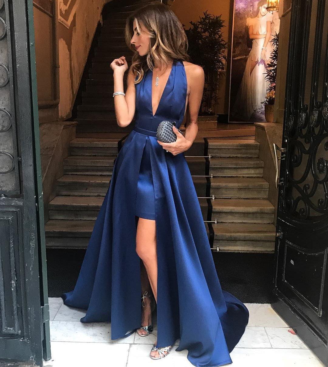 2c80152f4ad9c Chic Royal Blue Halter Deep V-Neck Long Prom Dresses,Satin A-Line ...