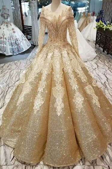 Gold Wedding Dresses.Luxury Gorgeous Gold Wedding Dresses 2019 Ball Gown Glitter From Eternally Yours Custom Bridals