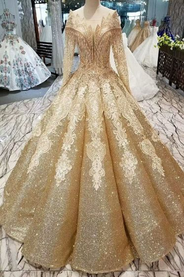 Luxury   Gorgeous Gold Wedding Dresses 2019 Ball Gown Glitter ... ce05670914a6