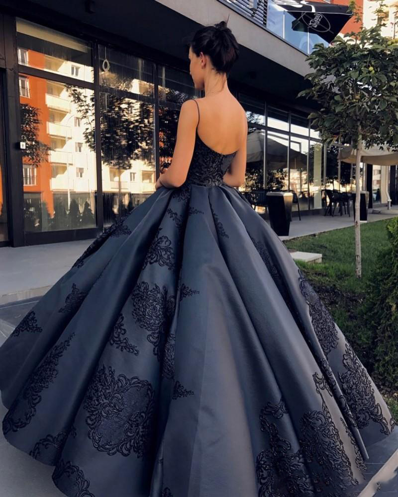 d781f9ea9a0 2019 Black Ball Gown Quinceanera Prom Dresses Sexy Spaghetti Straps Plus  Size Lace Appliques Floor Length ...