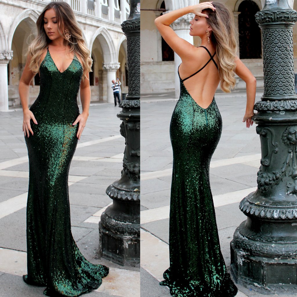 Sequin Sexy Backless Prom Dress V Neck Prom Dress Sparkle Prom Dress524 From Happybridal