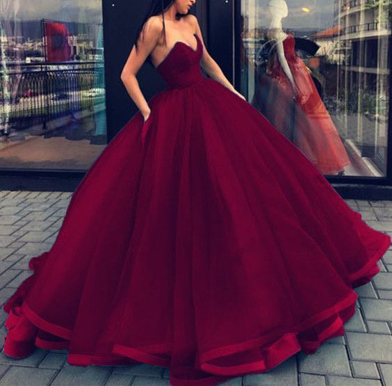 Red Ball Gown Dresses: Ball Gown Dark Red Prom Dresses Quinceanera Dress