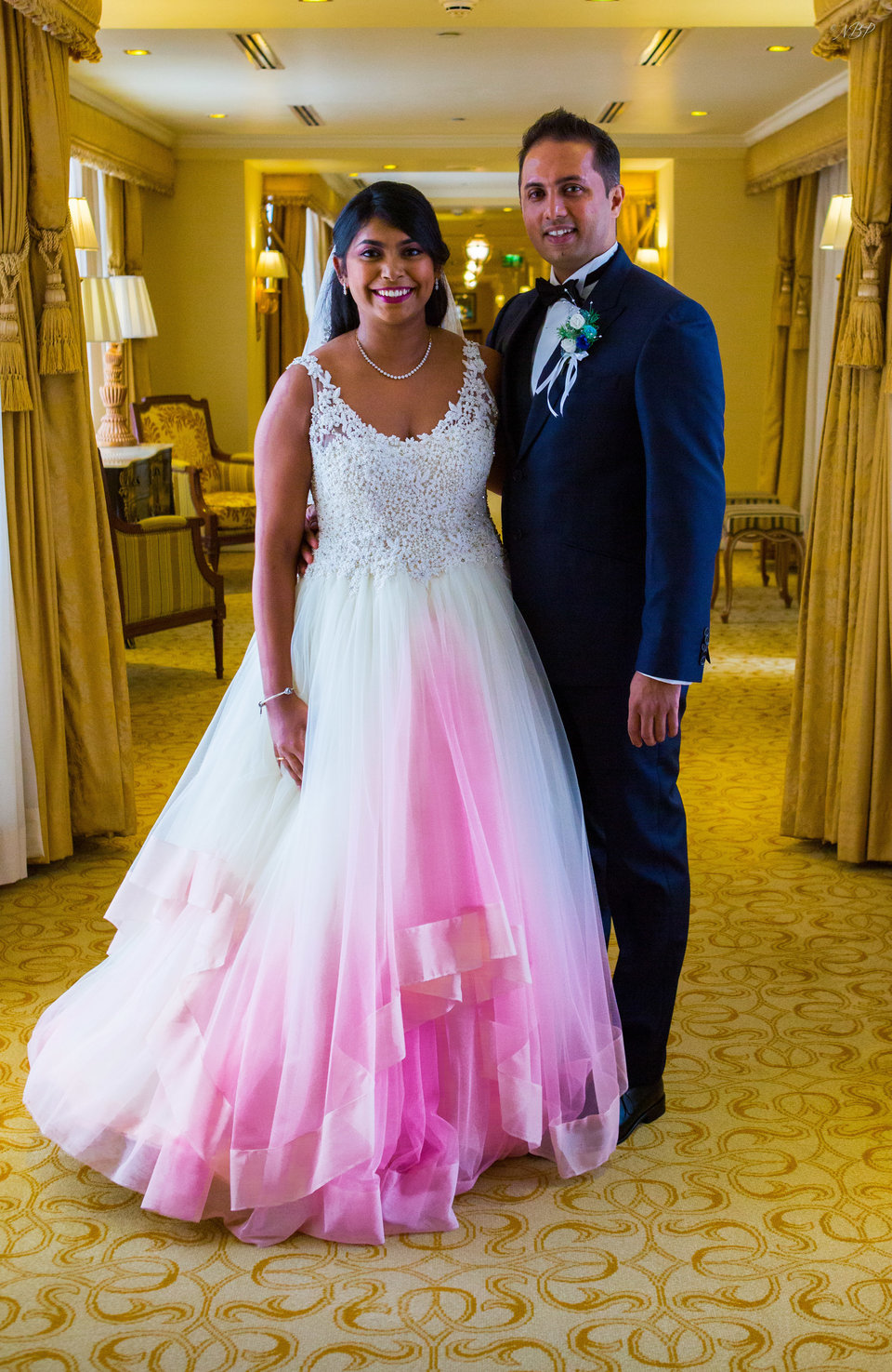 Plus Size Romantic Ball Gown Ombre Pink Wedding Dresses Scoop Lace Bodice  Bridal Gowns from Babybridal