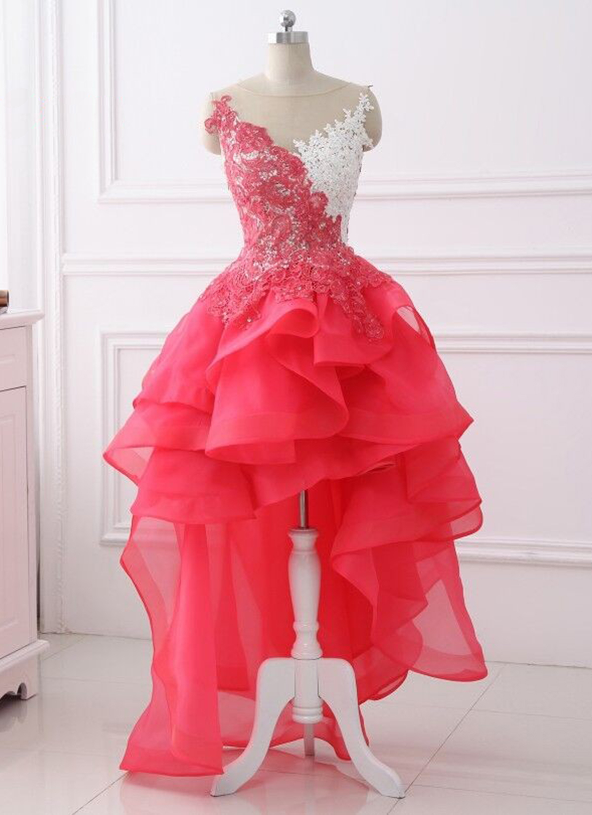 8cd60b92fe2 Cheap Prom Dresses by SweetheartDress · Coral Lace Layered High Low ...