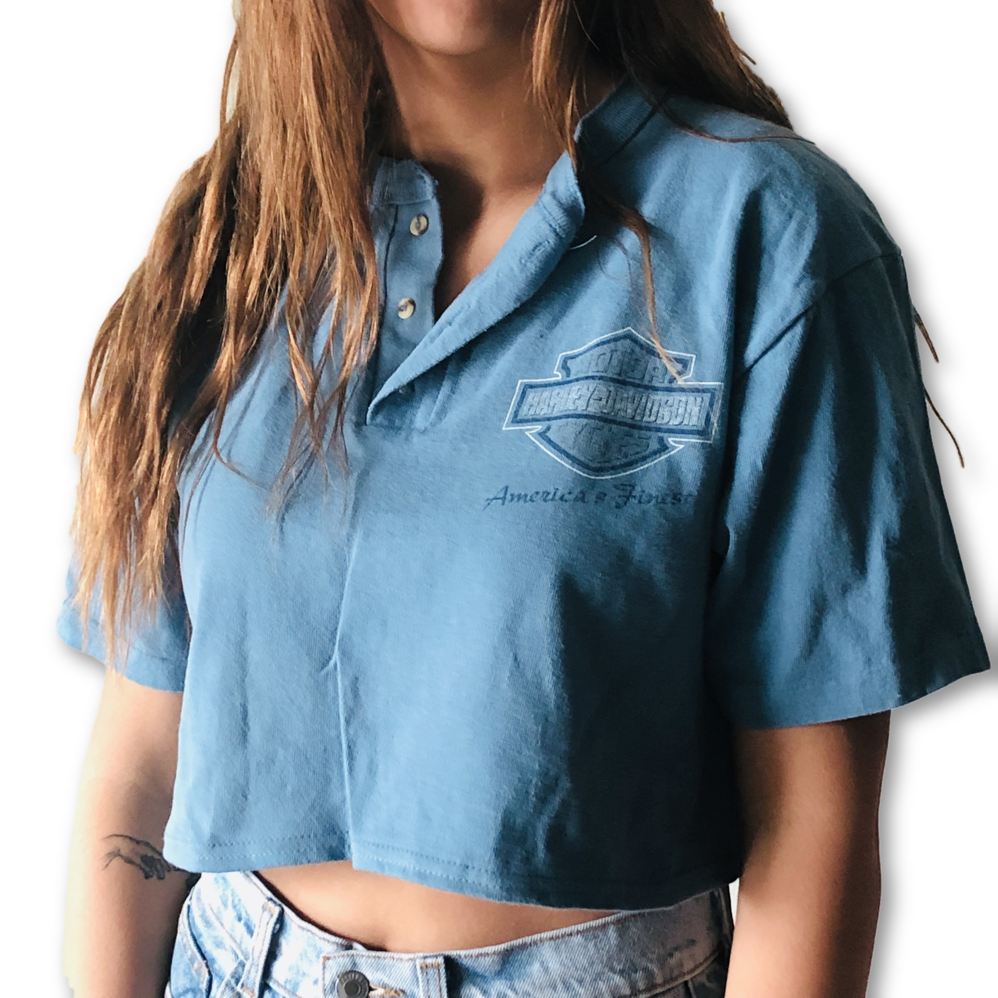 Harley Davidson Seattle >> Seattle Blue Harley Davidson Button Up Crop Top From Knee Deep Denim
