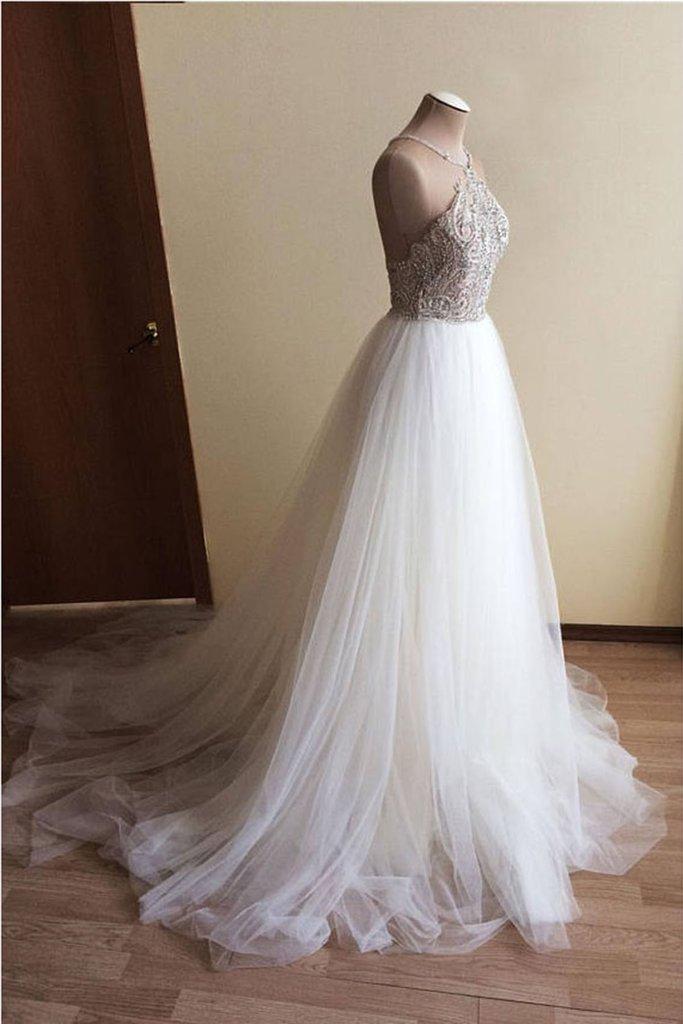 W73 Halter Beaded Ball Gown Wedding Dresseswedding Dresscustom