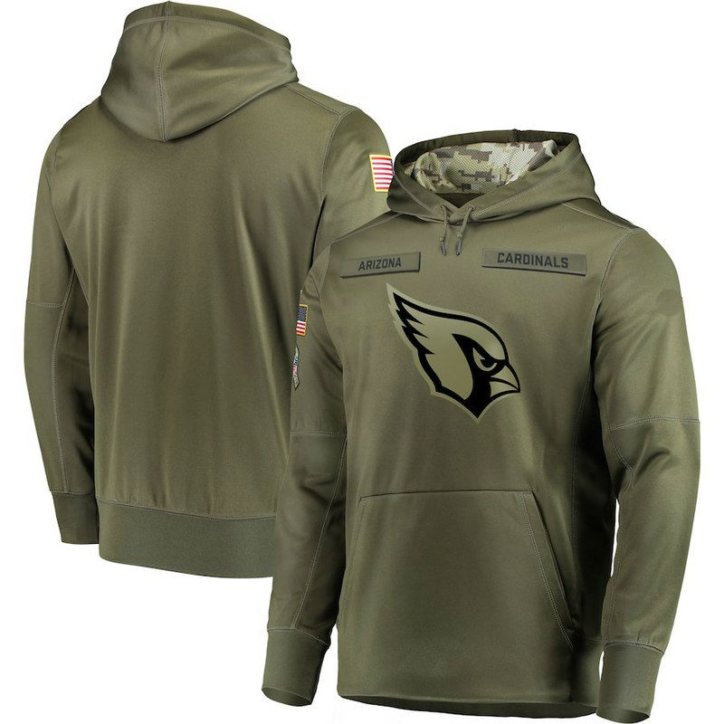 Youth Arizona Cardinals Olive Salute to Service Pullover Performance Hoodie 11247b852