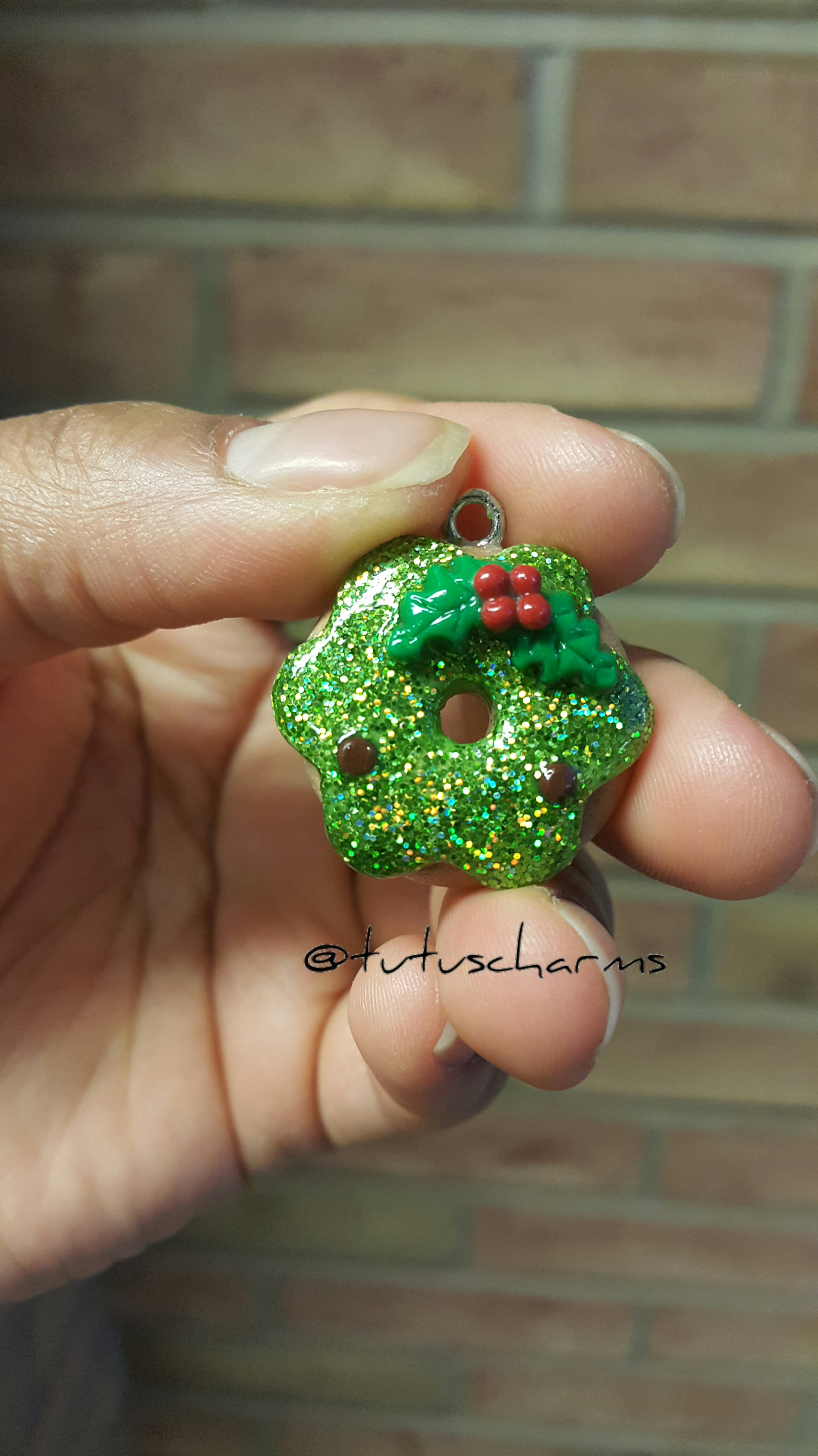 Polymer Clay Christmas Charms.Christmas Holly Hologram Donut Polymer Clay Charm From Tutu S Charms