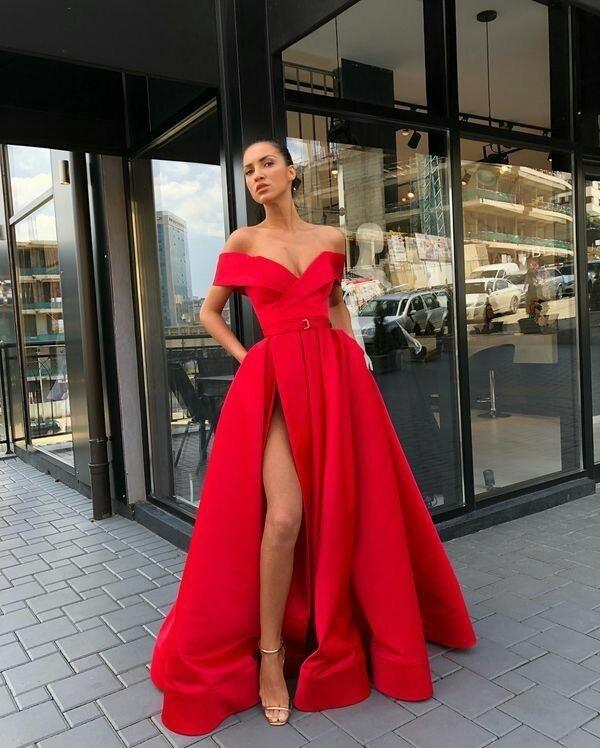 9fc6cf58cb5 Sexy V-Neck Red Prom Dresses A-Line Floor-Length Satin Evening Dress ...