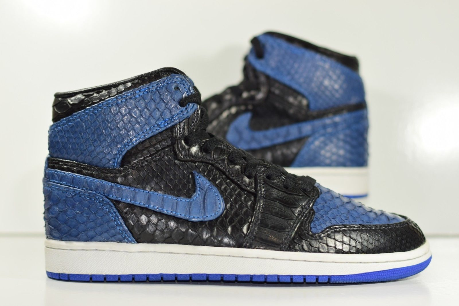 super popular cc499 82589 Size 8.5   2013 Nike Air Jordan 1 Retro High OG Royal X JBF Customs PYTHON  ...