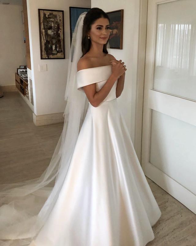 b6dbdee53 White Off Shoulder Wedding Dresses, Satin Wedding Gowns, Elegant Bridal  Dresses, Sexy Wedding Party Dresses on Storenvy