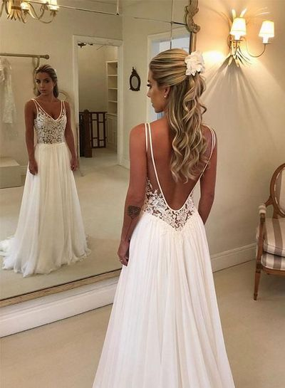 Romantic Wedding Dress Chiffon Wedding Dress Backless Wedding Dress A Line Wedding Dress W137 Babystyle Online Store Powered By Storenvy
