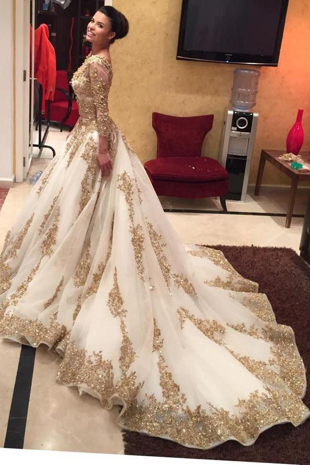 a40d98829c978 Luxurious Gold Lace Appliques 3 4 Sleeves V Neck Ball Gown Tulle Wedding  Dress
