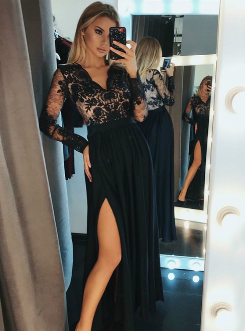 a051bfecd81c0 A-Line V-Neck Long Sleeves Black Chiffon Long Prom Dress With Lace ...
