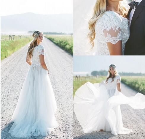 Modest Beach Boho Wedding Dresses Short Sleeves Plus Size Bridal ...